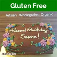 Organic Gluten-Free Chocolate Fudge Cake with Flowers (7inch Rect)