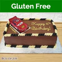 Organic Gluten-Free Chocolate Fudge Cake with Metal Toy Car (7inch Rect)