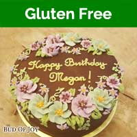 Organic Gluten-Free Chocolate Fudge Cake with Flowers (8inch Round)