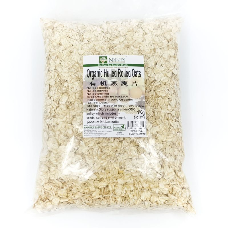 Organic Hulled Rolled Oats (1kg)